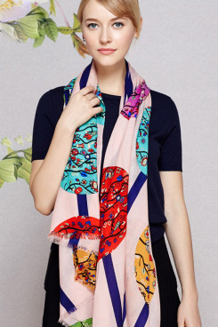 2019 Fashion Pink high-end long prints woolen scarf for women shawl