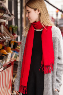 2019 Popular Red Basulan Wool Woman's Scarf shawl with Tassels
