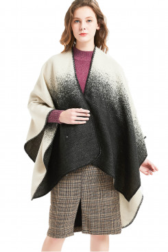 2019 Popular Women's Poncho Stylish Black and white gradient Cape Winter Free Shipping