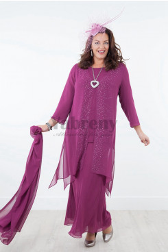 2020 Purple Plus size Elastic waist Trousers set Mother of the bride pants suits with shawl mps-023