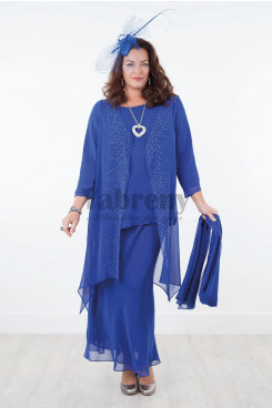 2019 Royal blue Plus size Chiffon Elastic waist Trousers set Mother of the dresses mps-024