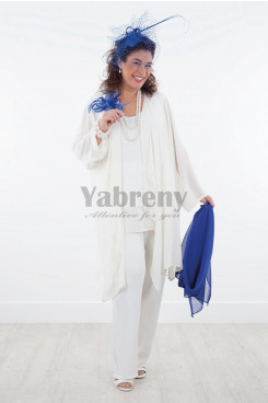 2020 White Loose Mother of the bride Pant Suits Three outfits mps-032