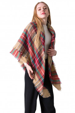 Women's Scarf Fall Winter Scarves Plaid Shawl Classic Square Plaid Scarf