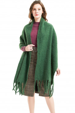 Women's Tassel Scarf  Warm Winter Scarves Solid Green Free Shipping