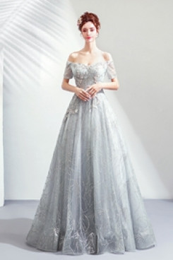 2020 A-line Discount Glamorous Floor-Length Off the Shoulder prom dresses TSJY-075