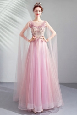 2020 A-line Empire Prom Dresses Sweep Train Pink Evening Dresses TSJY-147