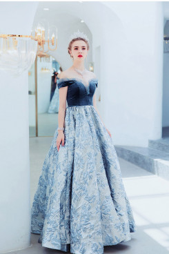 2020 A-line Floor-Length Prom Dresses Dark blue Sweetheart  Evening Dresses TSJY-118