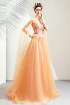 2020 A-line Orange Prom Dresses Brush Train Hand Beading Evening Dresses TSJY-120
