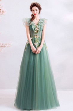 2020 A-line Prom Dresses Green Glamorous Evening Dresses TSJY-148