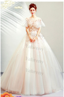 2020 A-line Short Sleeves Sweep Train Quinceanera Dresses TSJY-187