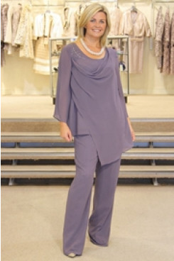 2020 Cowl Neck Elegant chiffon 2PC mother of the bride pants suit mps-222