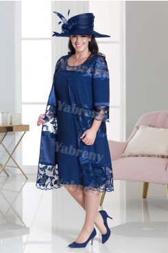 2021 Dressy Mother of the bride dress outfit Plus size Dark Navy women's Outfits mps-356