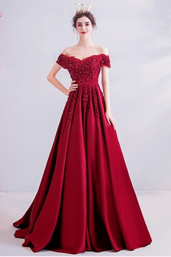 Burgundy Prom Dresses A-line Brush Train Evening Dresses TSJY-169