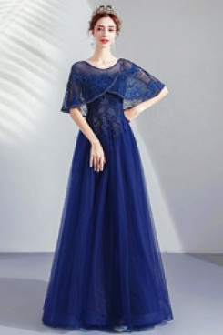 2020 Elegant Evening Dresses Dark Blue Empire Prom Dresses TSJY-135