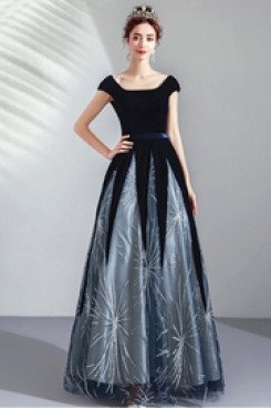 2020 Fashion Dark Blue Evening Dresses Empire Scoop Prom Dresses TSJY-110