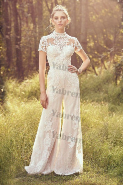 2020 Fashion High Collar Bridal Jumpsuits Hot Sale Bridal Dress so-216
