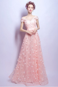 2020 Fashion Off the Shoulder Pink Prom Dresses Gorgeous Princess Evening Dresses TSJY-168