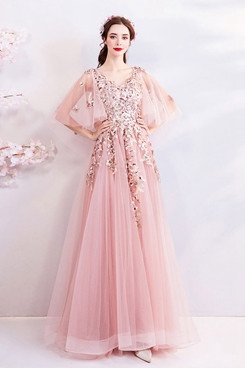 2020 Gorgeous Pink Empire lace Prom Dresses Appliques Evening Dresses TSJY-162