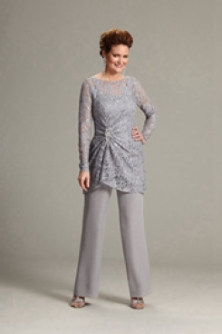 2020 Gray Long Sleeves mother of the bride pants suit mps-228