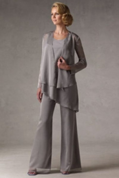2020 Gray mother of the bride dress pants sets mps-218