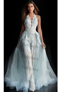 2020 Halter lace Princess bride jumpsuit Disassemble Brush Train V-neck wedding dresses so-200