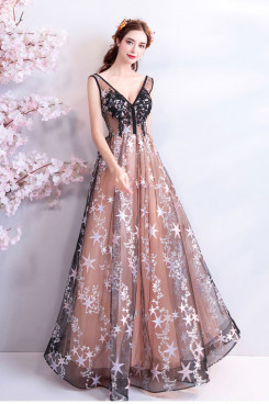 2020 lovely V-neck Prom Dresses a-line Pattern Evening Dresses TSJY-115