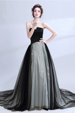 2020 New Arrival Black Strapless Prom Dresses Glamorous Sweep Train Evening Dresses TSJY-116