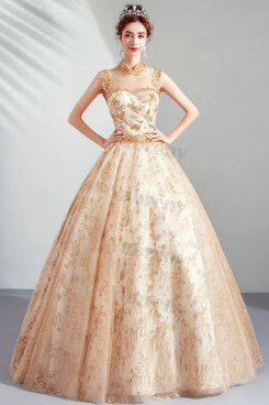 2020 New Arrival Champagne High Collar Quinceanera Dresses TSJY-193