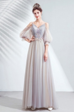 2020 New Style Spaghetti Gray Half Sleeves prom dresses TSJY-069