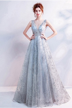 2020 New Arrival Empire A-line Prom Dresses Gray Silver Evening Dresses TSJY-164