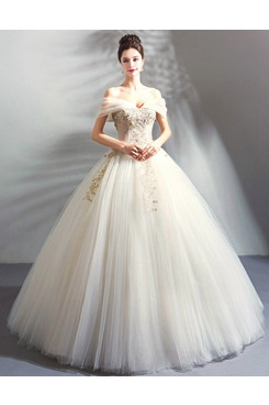 2020 Off the Shoulder Ball Gown Weding Dress Hand Beading Quinceanera Dresses TSJY-181