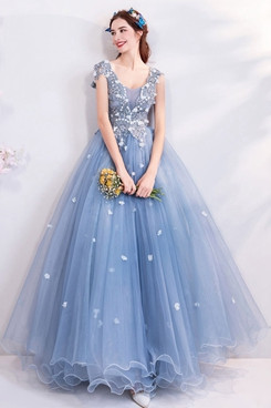 2020 Sky Blue Multilayer Prom Dresses lace Floor-Length Quinceanera Dresses TSJY-166