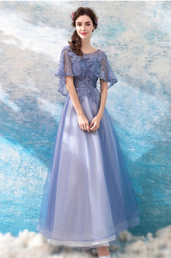 2020 Sky Blue Prom Dresses Empire Hand Beading Evening Dresses TSJY-121