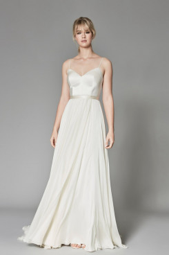 2020 Spaghetti Spring Beach $100 bride dresses with Belt for wedding So-206