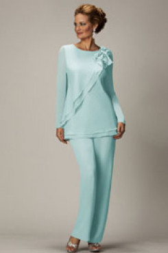 2020 Spring Jade Blue Chiffon mother of the bride pants suits mps-266