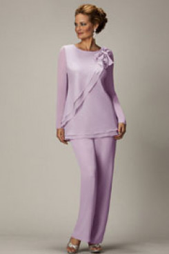 2020 Spring Lavender Chiffon mother of the bride pants suits mps-265