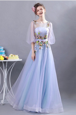 Sky Blue Spring Prom Dresses Under $100 Half Sleeves Party Dresses TSJY-174