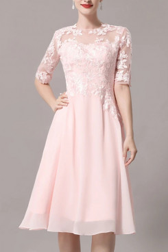 2021 New Style Pink Lace Half Sleeves Discount Mother Of The Bride Dress mps-431