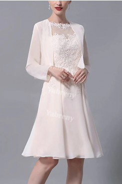 2021 Chiffon Mother of the Bride Dresses,Knee Length Long Sleeve Mother of the Groom Dresses mps-440