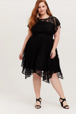 2021 Elegant Plus Size Women's Dresses,Black Lace Knee-Length Summer Dresses mps-414