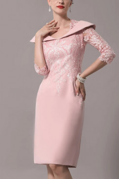 2021 Elegant Sheath Mother of the Bride Dress / Queen Anne Knee Length Polyester Half Sleeve Mother of the groom dresses mps-433