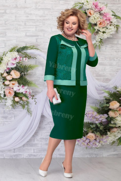 2021 Fashion Plus size Mother of The Groom Dresses, Green Knee-Length Women's Dress mps-471-2