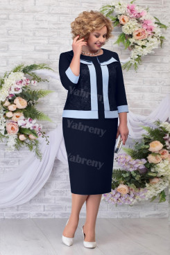 2021 Navy Plus size Mother of The Groom Dresses, Occasion Knee-Length Women's Dress mps-471-4