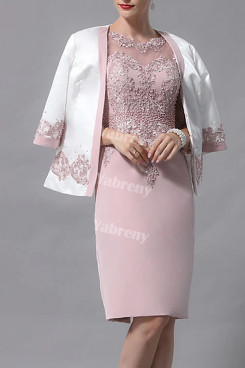 2021 Hand Beading Mother Of The Bride Dress,Knee-Length Mother Of The Groom Dresses With Jacket mps-438
