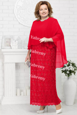 2 PC Plus Size Red Mother of the Bridal Dresses Cheap Knee-Length Women's Outfis with Wraps mps-369-1