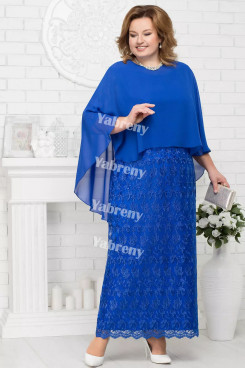 2 PC Plus Size Royal Blue Mother of the Bridal Dresses Cheap Knee-Length Women's Outfis with Wraps mps-369