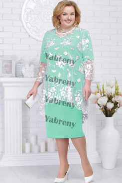 2 PC Plus Size Women's Outfis Light Green Modern Mother of the Bridal Dresses mps-368-3