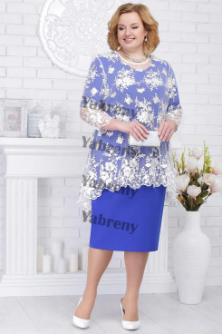 2 PC Plus Size Women's Outfis Light Royal Blue Modern Mother of the Bridal Dresses mps-368-1
