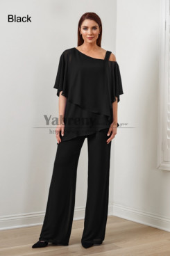 2PC Black Chiffon Women's Pant Suits,Hot Sale Mother Of The Bride Pant Suits, Ropa de mujer mps-579-1