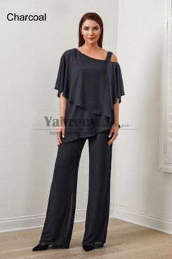 2PC Charcoal Chiffon Women's Pant Suits,Hot Sale Mother Of The Bride Pant Suits, Ropa de mujer mps-579-2